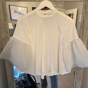 A New Day White Bell Sheer Sleeve Blouse